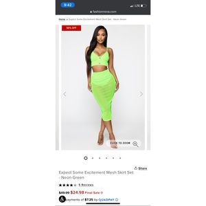 Expect Some Excitement Mesh Skirt Set - Neon Green